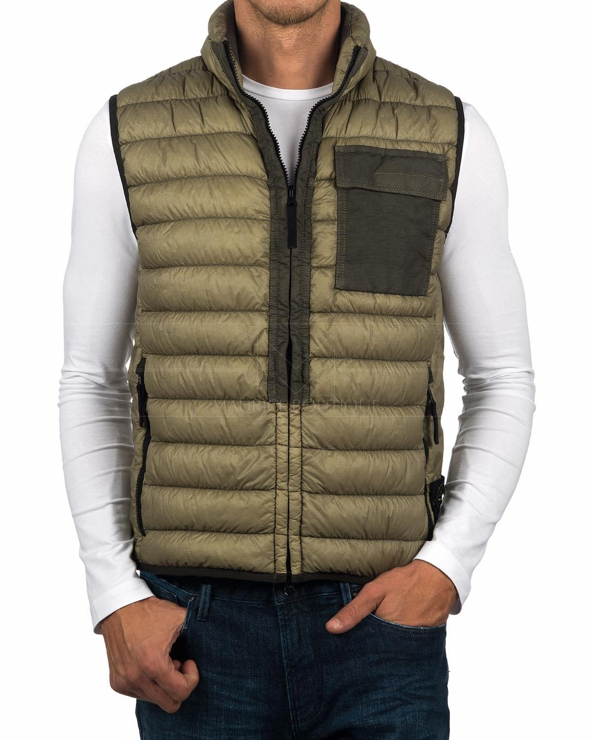 929ffdf4e8a89 Stone Island Gilet - Garment Dyed Micro Yarn Down Packable - Olive ...