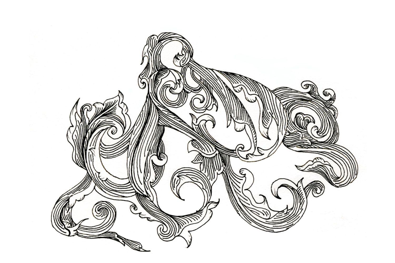 octopus drawing Vintage Octopus Drawing Octopus drawing