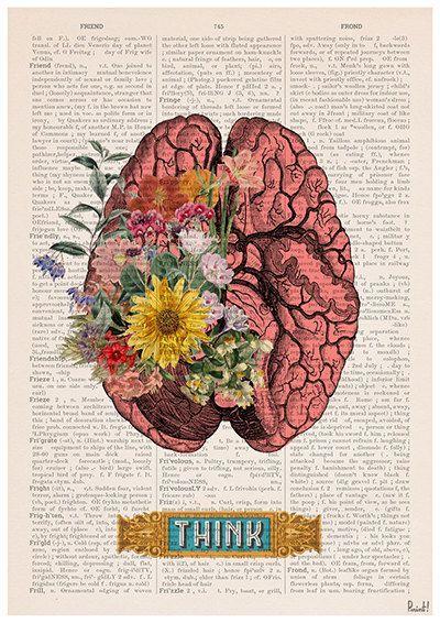 Gehirn-Blume-Kunst - Natur Anatomie - Anatomie Illustration - Gehirn-Wand-Kunst - Anatomie Druck - anatomische Poster - SKA131PA3 #12doctor