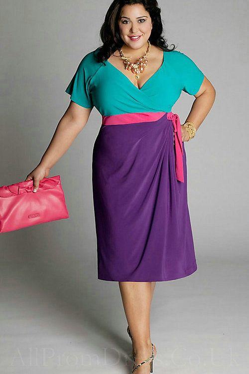 V Neck Wholesale Sleeves Color Block Blue Purple Knee Length ...