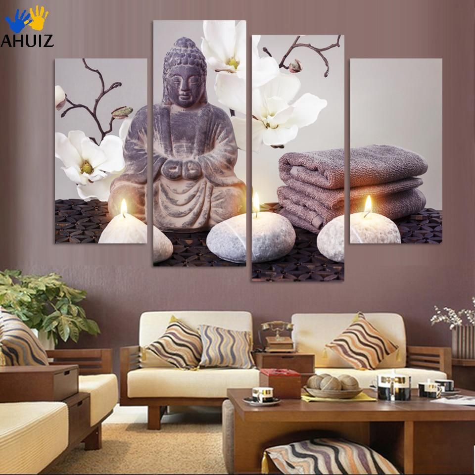 4 Pieces Art Modern Printed Buddha Painting Picture Decoration Buddha Paintings Wall Pictures For Living Room Self Adhesive Yesterday Buddha Home Decor Buddha Decor Living Room Pictures
