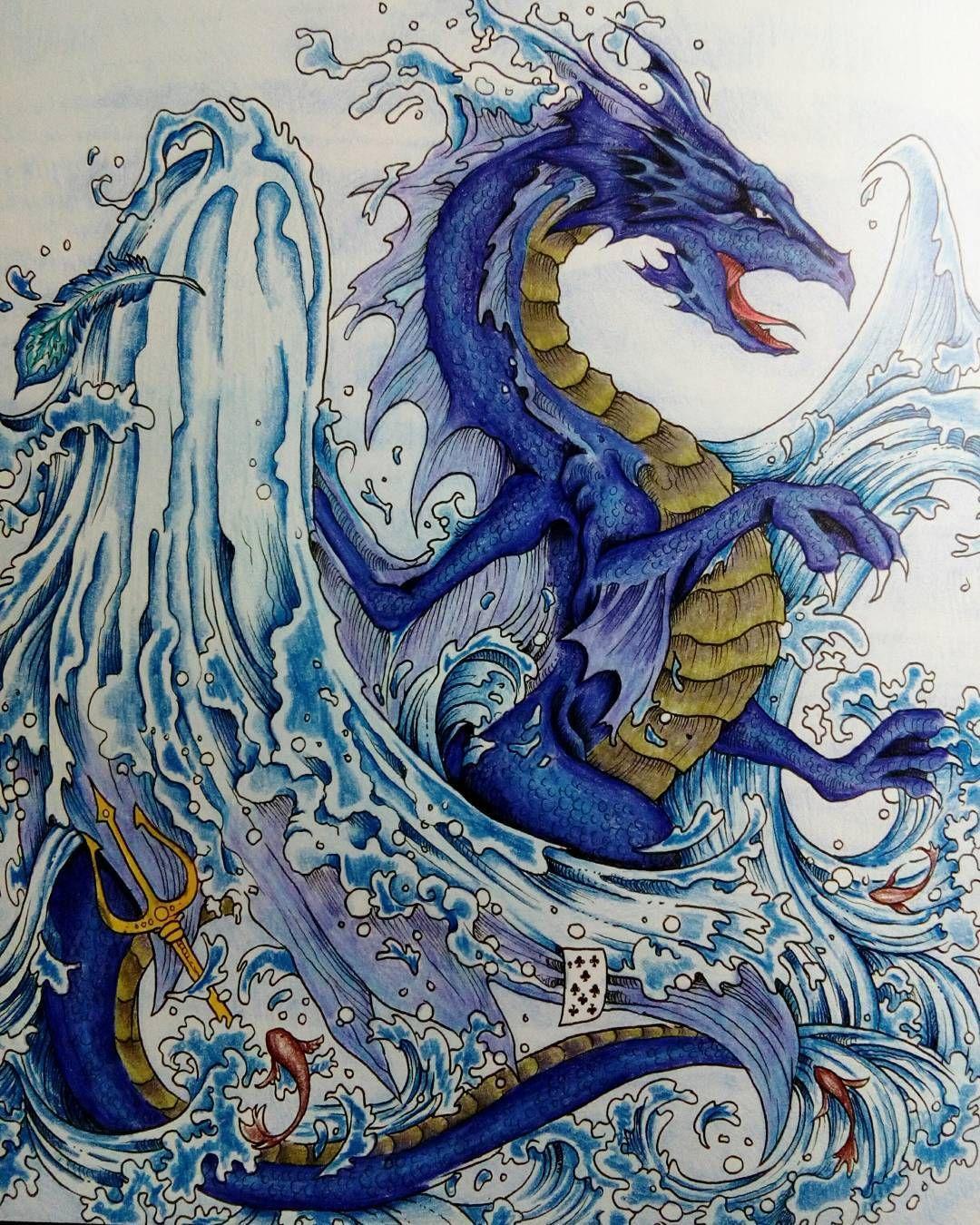 """The waterdragon"" #kerbyrosanes #mythomorphia #imagimorphia #animorphia #adultcolouring #coloringbooksforadults #målarböckerförvuxna #bayan_boyan #morphiamay"