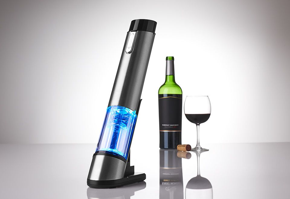 Rechargeable Wine Opener With Built In Infrared Thermometer Sharper Image Wine Opener Wine Bottle Opener Wine Bottle