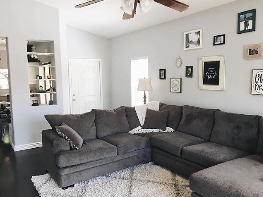 We our 2PC Pewter Sectional w/ chaise in this gorgeous modern living ...