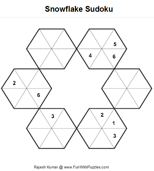 Rules of snowflake sudoku fill the grid so that every hexagons explore sudoku puzzles hexagons and more pronofoot35fo Choice Image