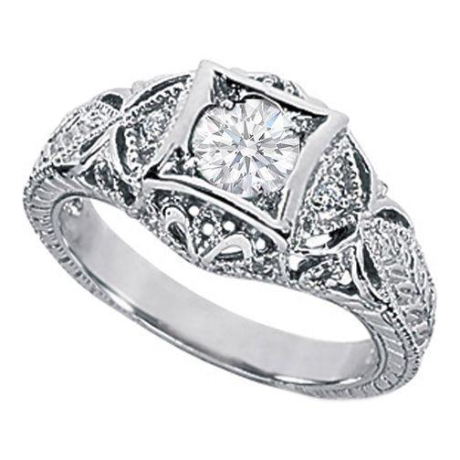 057 carat vintage style filigree engagement ring - Filigree Wedding Rings