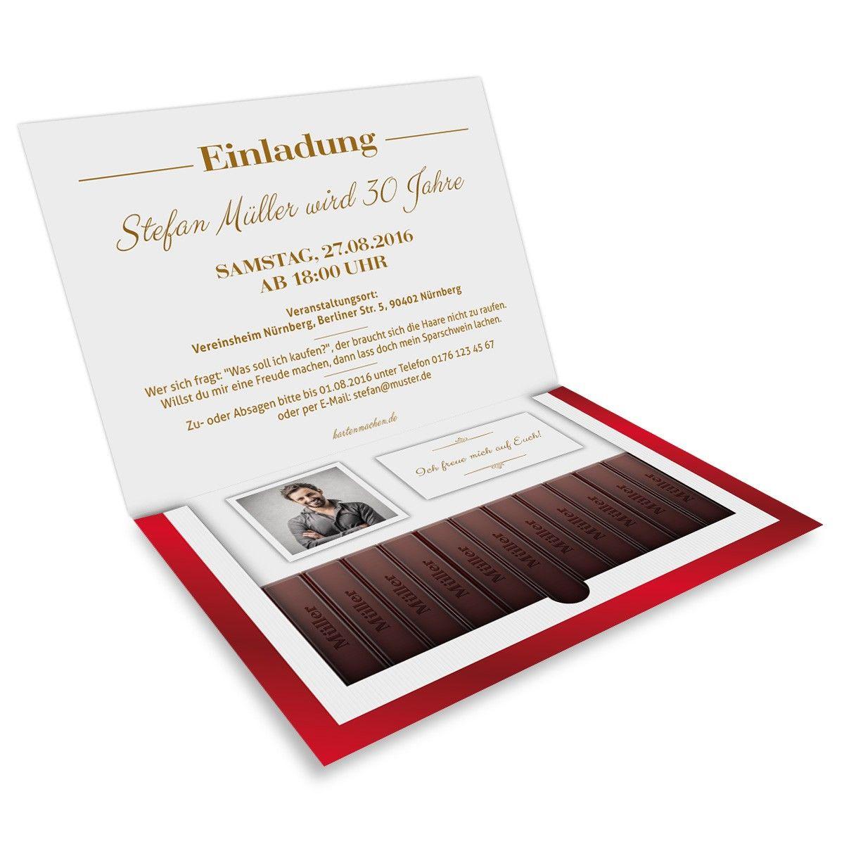 nice ausergewohnliche einladungen zum geburtstag #1: Danke Schokolade Einladungen mit eigenem Text und Foto!