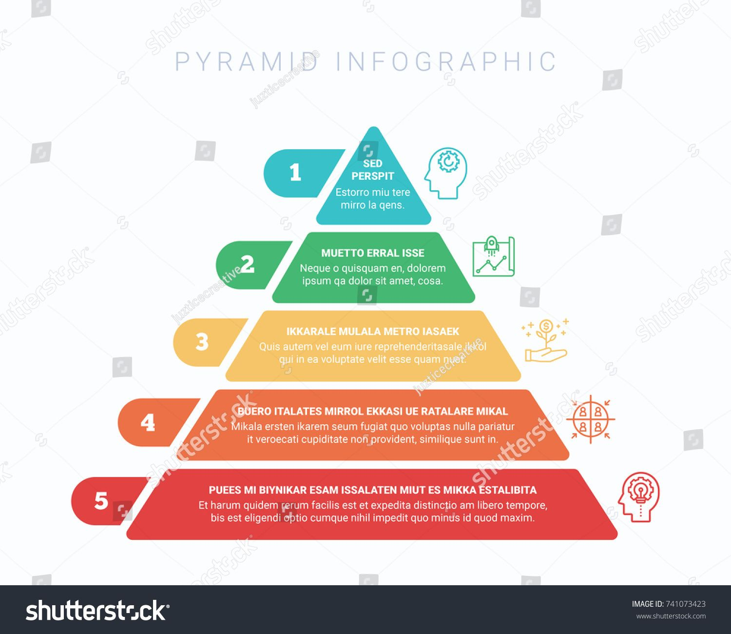 Colorful Hierarchy Pyramid Infographic In 5 Colors And 5 Steps