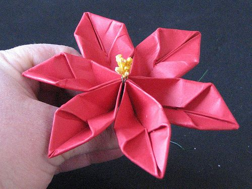 Origami pointsetta flowers brought to you by ink stains 25 days of origami pointsetta flowers brought to you by ink stains 25 days of hand made ornaments crafts for all seasons pinterest origami poinsettia and mightylinksfo
