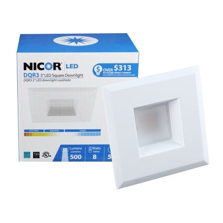 Nicor Lighting 3 Inch Square 2700k Led Recessed Downlight Retrofit Kit White Dqr3 10 120 2k Wh Bf Products Downlights Lighting Lighting Solutions