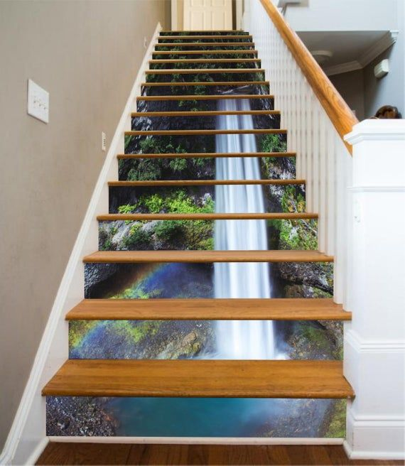 3D Water Fall Stair Sticker Stair Risers PVC Sticker Mural
