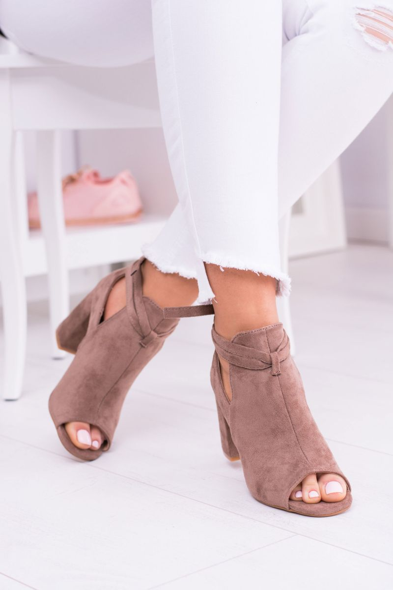 Wiosenne Brazowe Botki Sandaly Na Slupku Odkryte Palce Grays Shoes Heeled Mules Heels