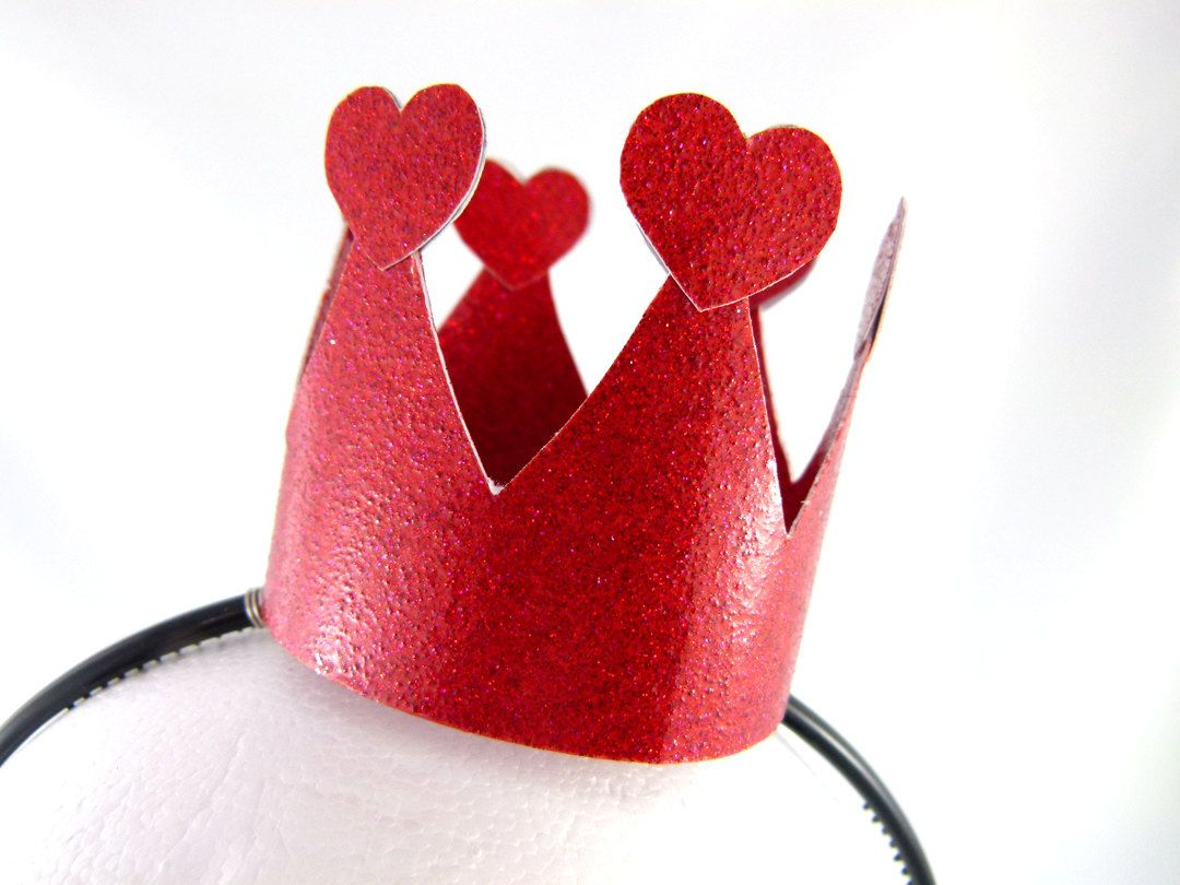 Queen Of Hearts Red Dress Up Crown Headband Made To Order