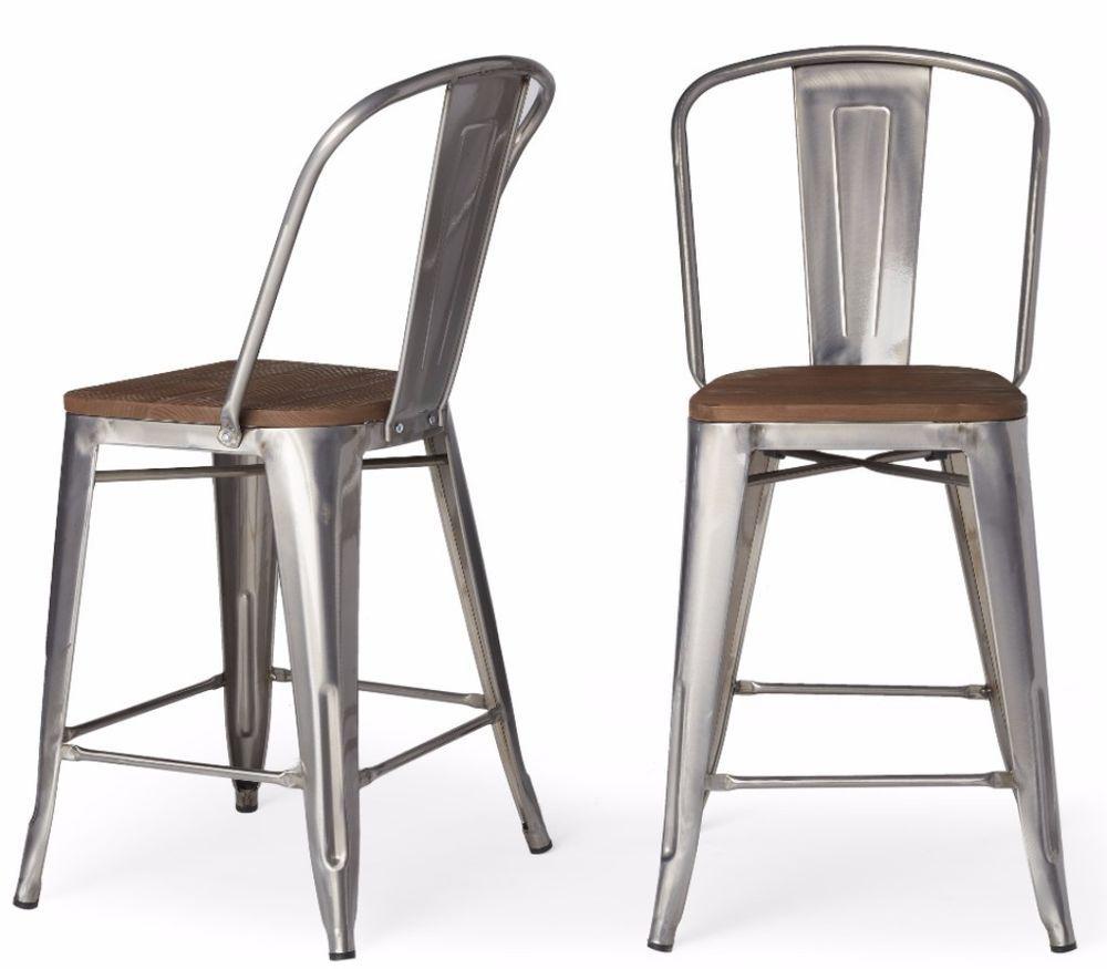 Tabouret bistro set of wood seat gunmetal finish counter stools