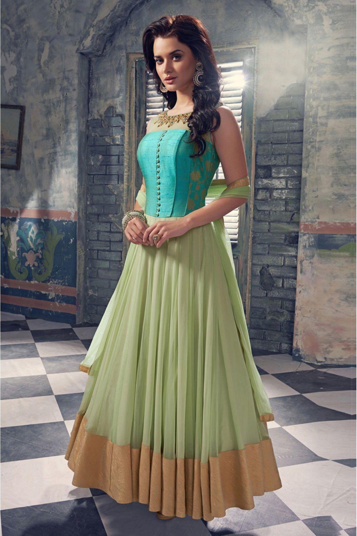 aad1bfbe27 Net Anarkali Suit in Sea Green Colour Churidar, Indian Salwar Kameez,  Salwar Kameez Online