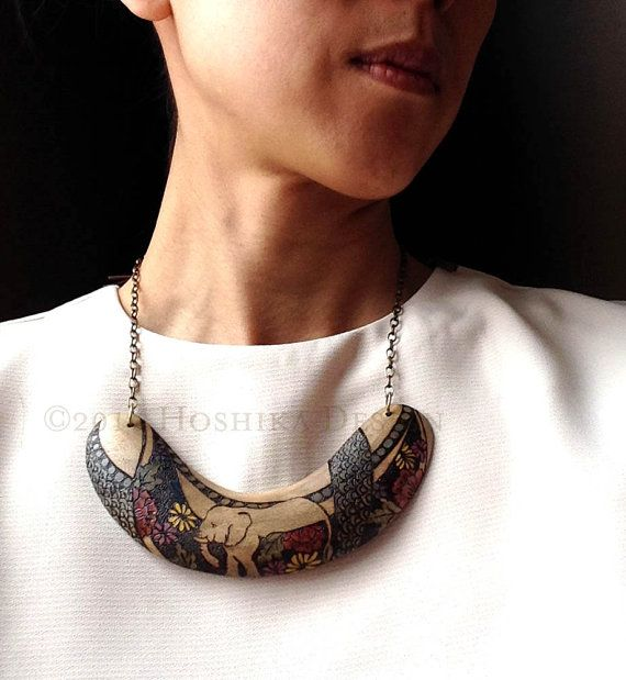 Elephant Wooden Statement Necklace Boomerang Pyrography by Hoshika