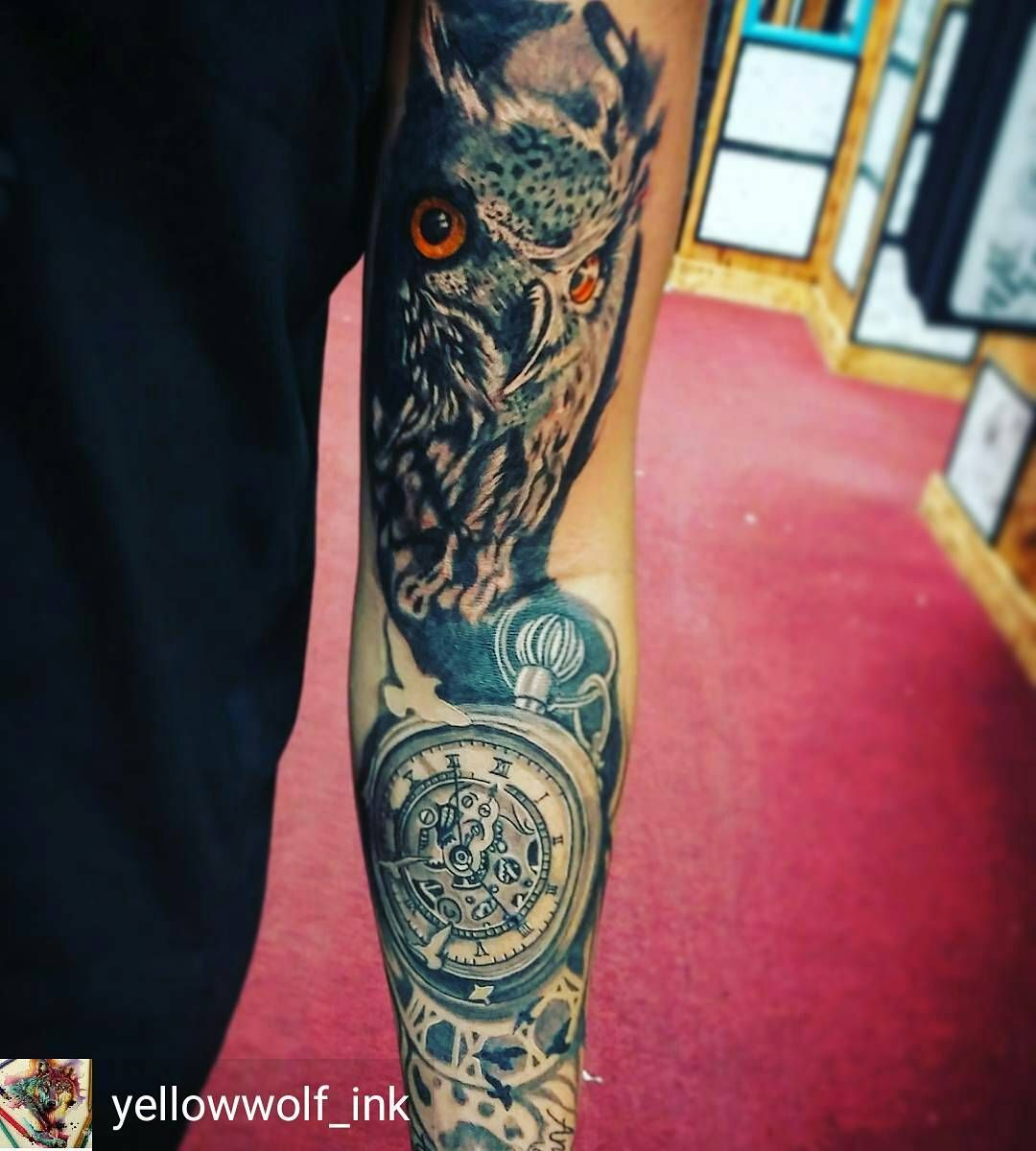 Credit To Yellowwolf Ink Owl Clock Timetattoo Watchtattoos Pocketwatch Time Timeless Watches Tattoos Thebes Watch Tattoos Tattoos Body Art Tattoos