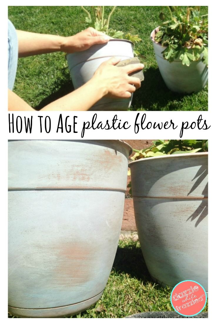 How To Make New Plastic Pots Look Old With Paint Plastic Flower Pots Flower Pots Outdoor Flower Pots