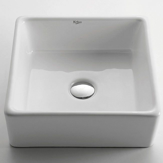 Kraus White Square Ceramic Vessel Sink   Overstock™ Shopping   Great Deals  On Kraus Bathroom