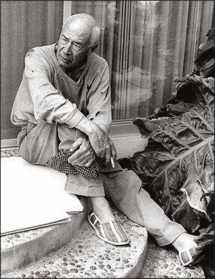 Henry Miller at home in Big Sur.