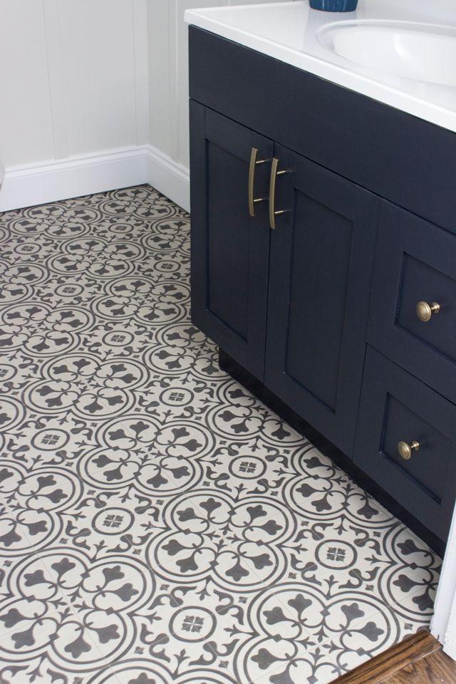 Basement Bathroom Makeover Shades Of Blue Interiors Vinyl Tile Bathroom Bathroom Vinyl Vinyl Flooring Bathroom