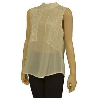Cotton Candy Ct3110 Open Back Sleeveless Womens Shirts Ivory Sz S ~