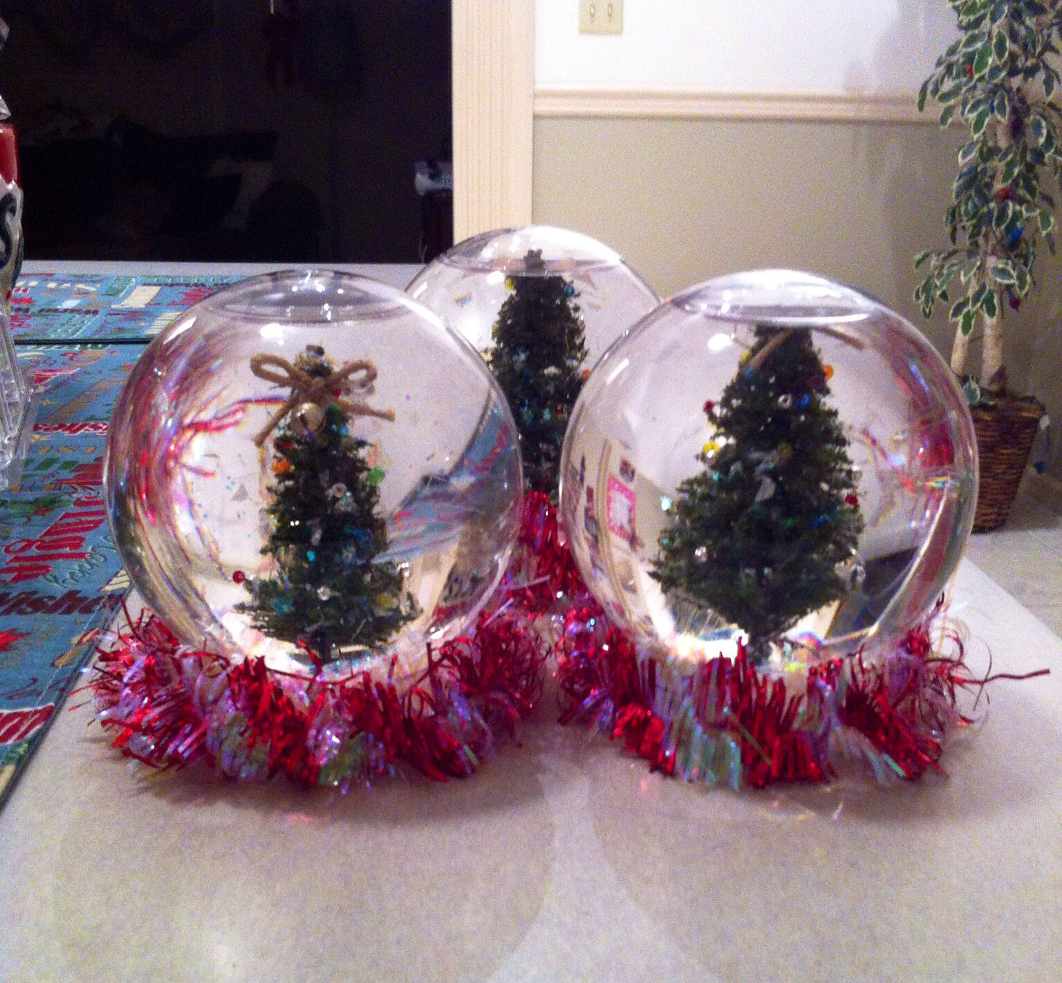 I fancied up the #diysnowglobe project by hot gluing ...