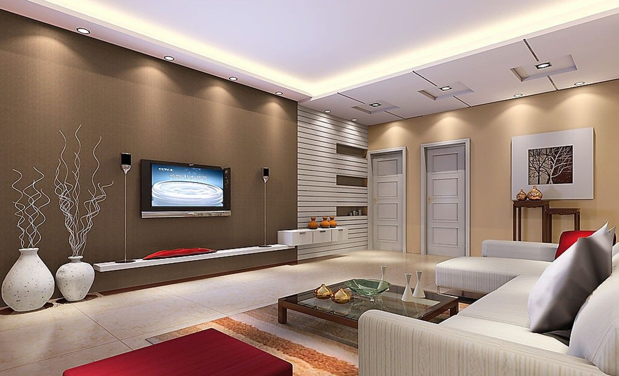 Attractive Creative Ideas  Living Room Interior Design With Wooden Coffee Table  Ceiling Lights And White Sofa