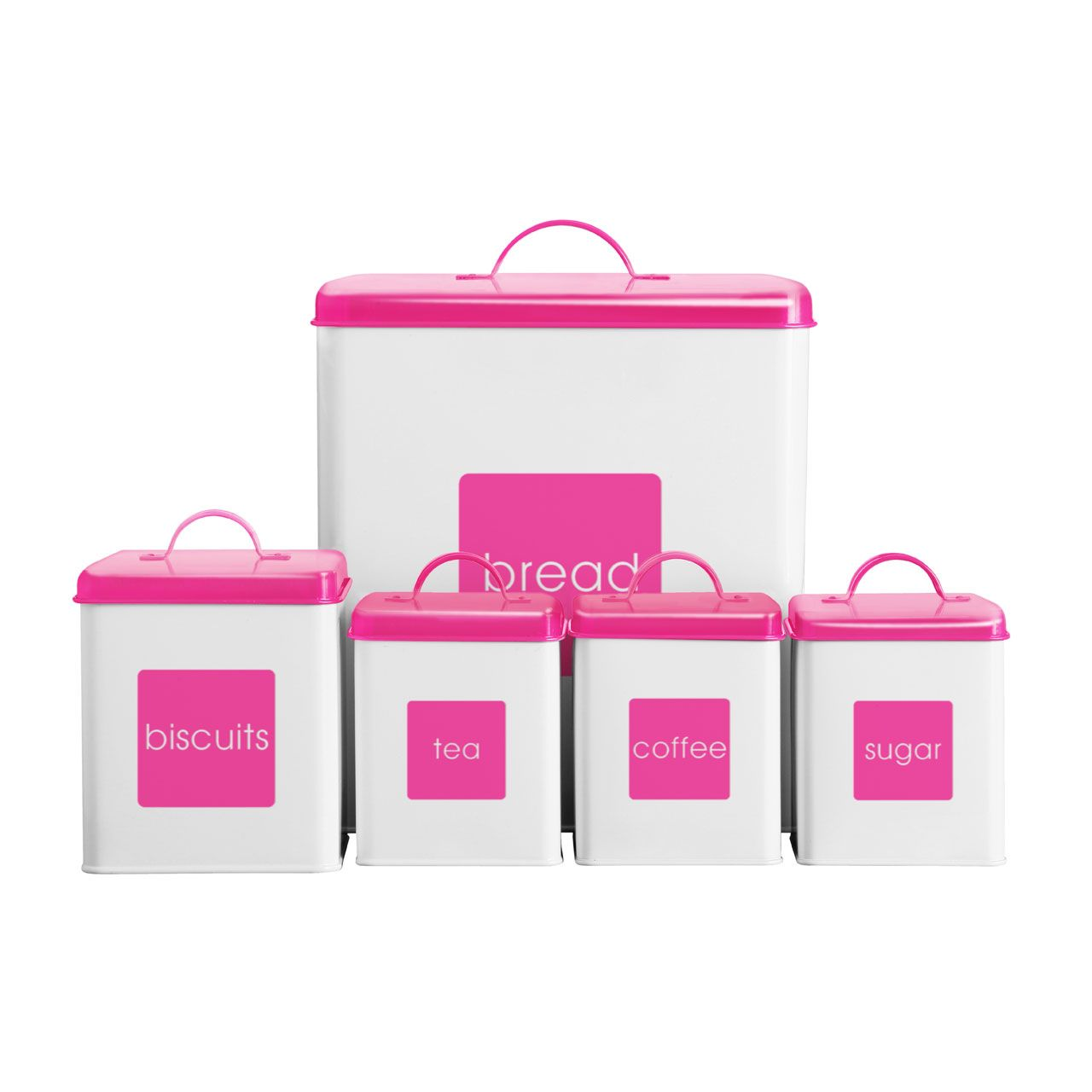 Tea Coffee Sugar Biscuits Bread Bin Hot Pink White Canisters Kitchen