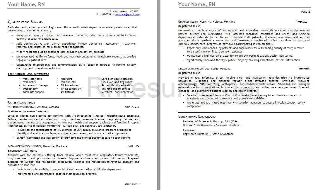 Pin by RN Resume on RN Resume   Nursing resume, Rn resume ...