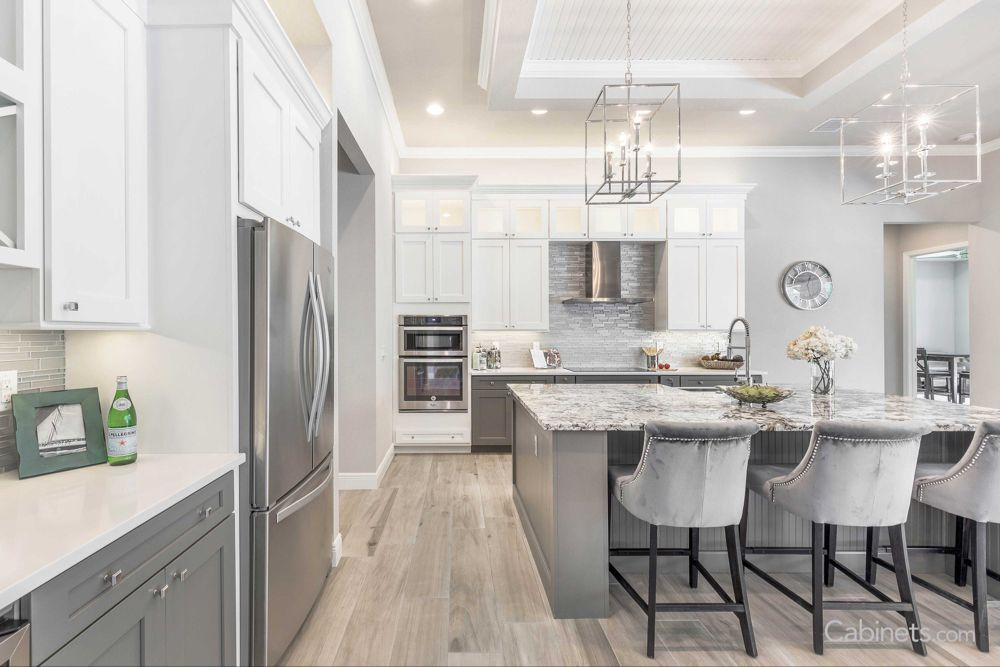 Glamorous Transitional White and Creek Stone Kitchen with ...