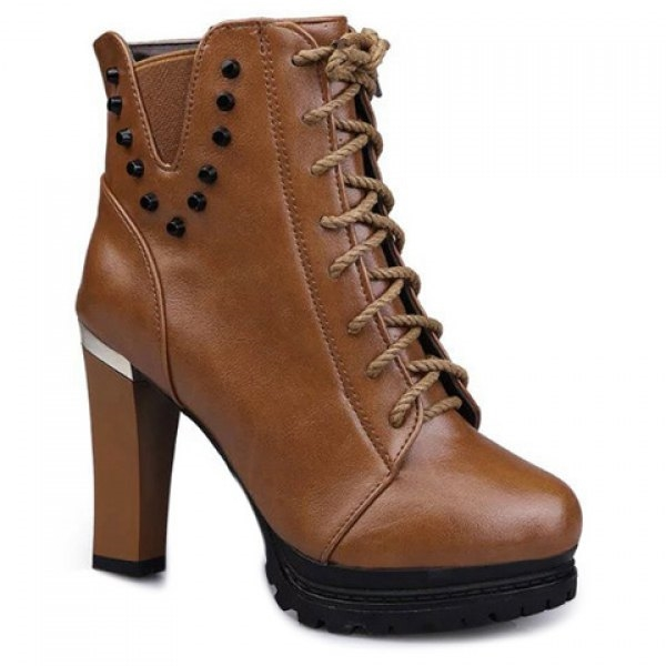 40.75$  Watch now - http://di61m.justgood.pw/go.php?t=196711803 - Lace-Up Rivet Chunky Heel Ankle Boots