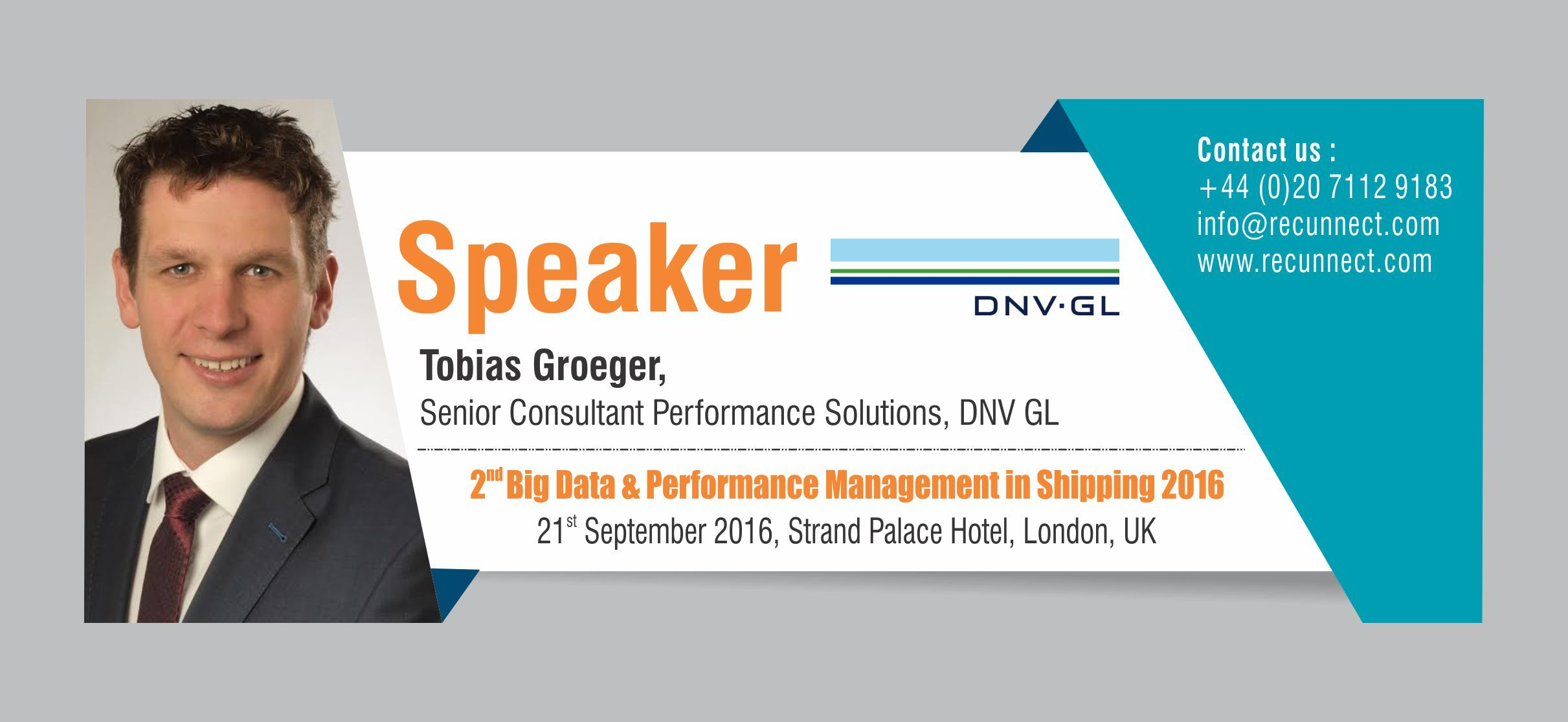 """BigData - We are Delighted to announce and welcome our Speaker """"Tobias Groeger"""" joins the panel at RecunnectLtd's 2nd Big Data and Performance Management in Shipping 2016. Standard Registration now live £950+VAT (3 for the price of 2 - Book 2 delegates and get the third pass complementary) Book at http://www.recunnect.com/events/maritime-events/2nd-big-data-in-shipping-2016/registration/ now to save £50 with voucher code SAR001."""