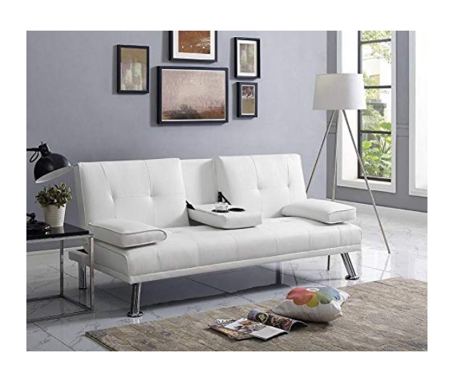 Small Futon Sofa Bed White Leather Modern Recliner Sleeper Couch