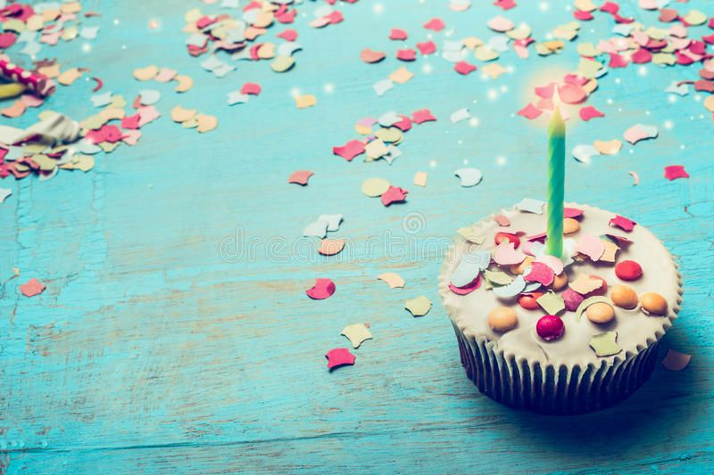 Photo About Birthday Cake With Candle And Confetti On