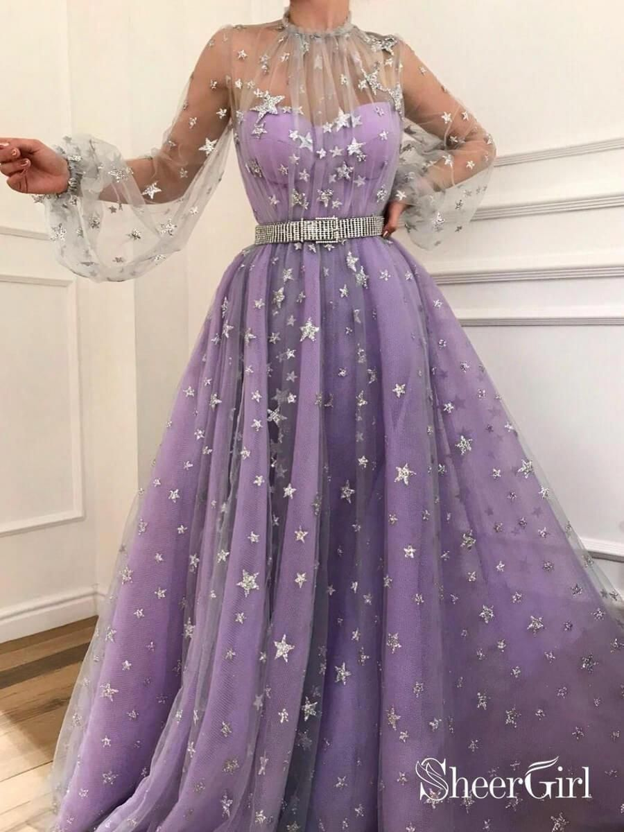 Long Sleeve See Through Lilac Star Lace Prom Dresses With Sleeves Belt Ard1941 Prom Dresses Long With Sleeves Purple Prom Dress Evening Dresses Long [ 1200 x 900 Pixel ]
