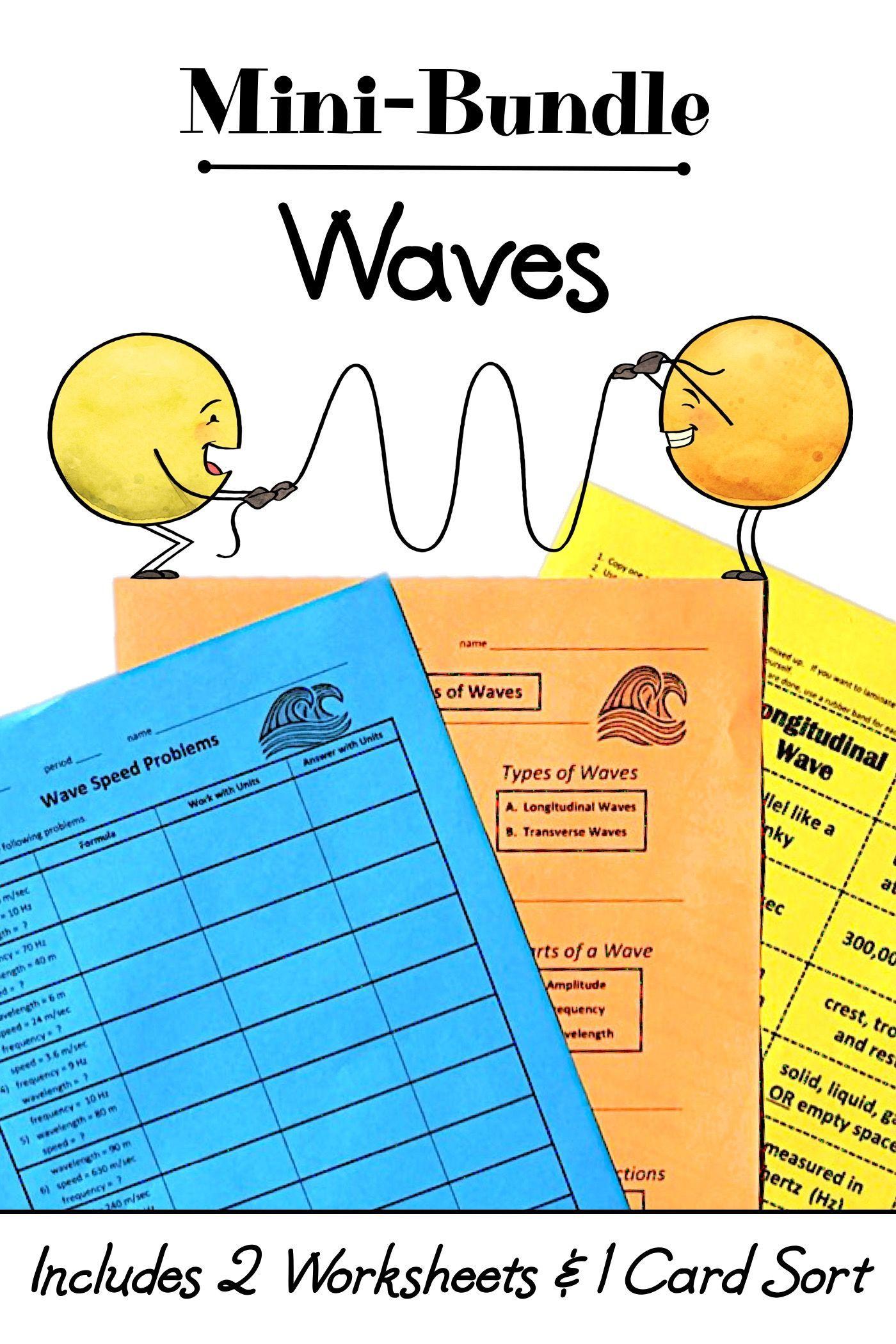 Waves Mini-Bundle - Card Sort + 2 Worksheet Activities   Free science  worksheets [ 2100 x 1400 Pixel ]
