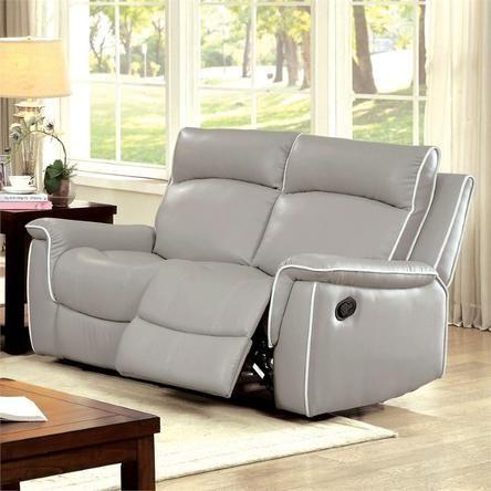 Furniture Of America Furniture Of America Valda Reclining Loveseat In Light  Gray