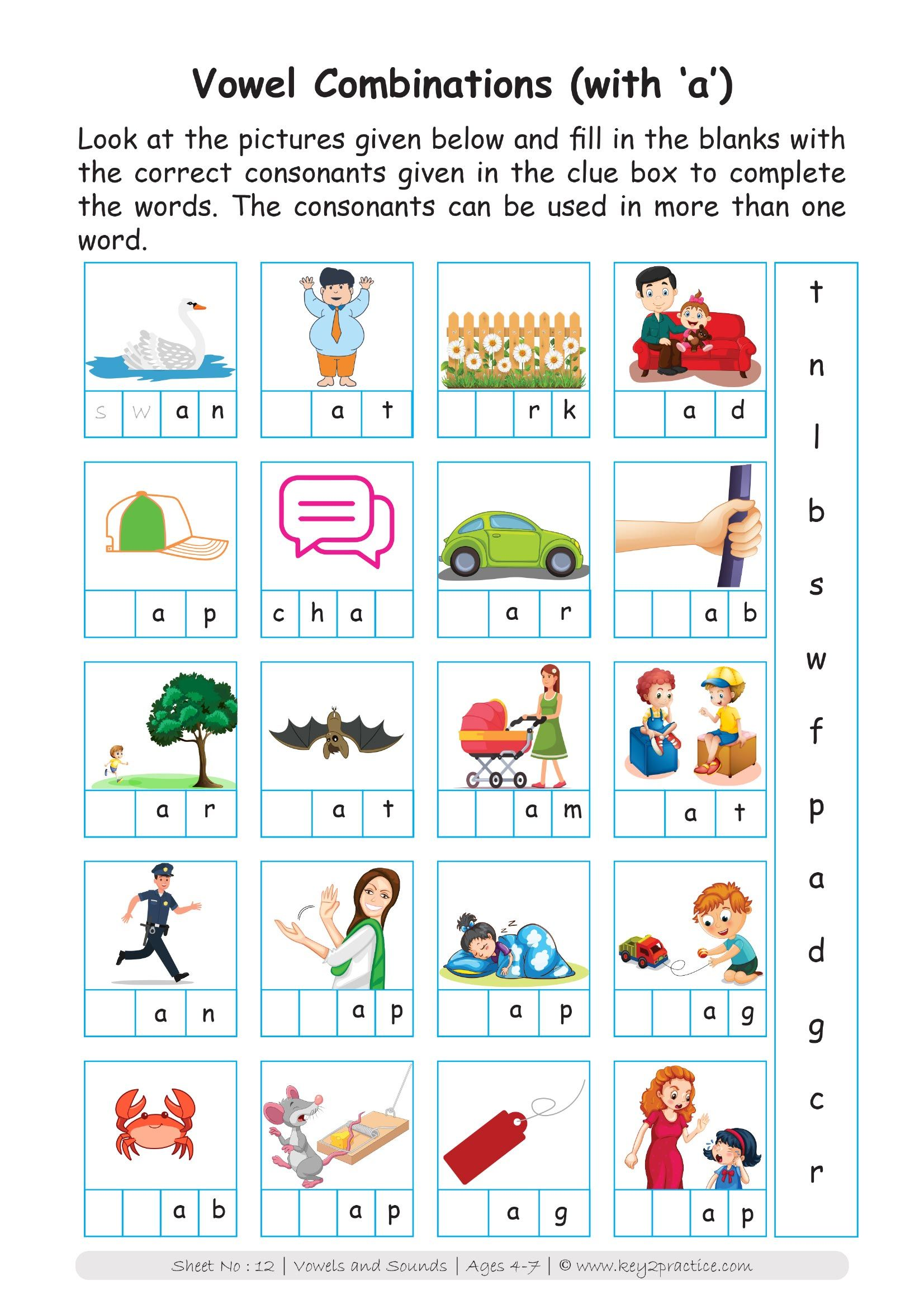 English Worksheets Grade 1 Workbook Vowels Amp Sounds In
