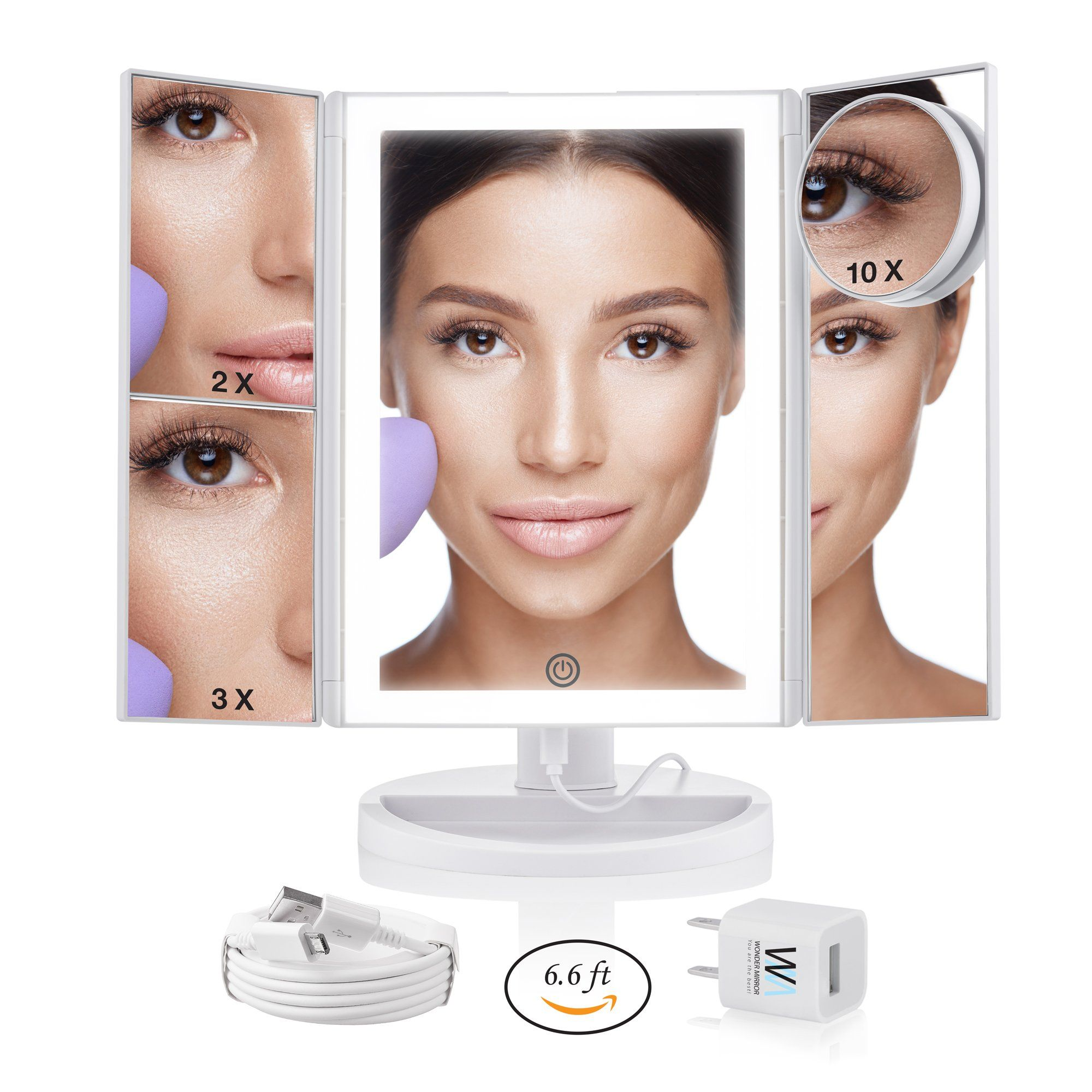Lighted Makeup Mirror With Magnification Trifold Desktop 10x Magnifying Cosmetic Mirrors Van Makeup Mirror With Lights Mirror With Led Lights Cosmetic Mirror