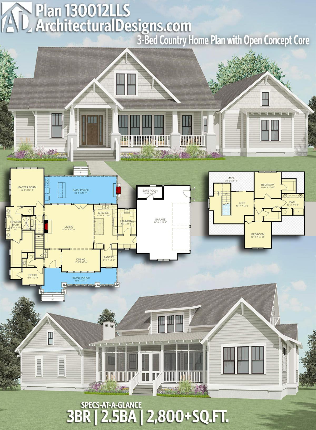 Plan lls bed country home plan with open concept core
