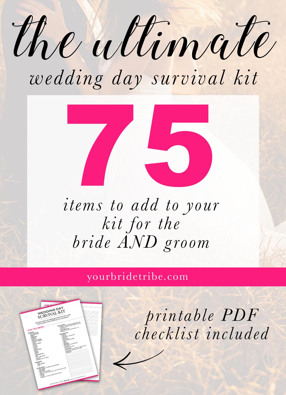 Wedding day survival kit http://www.mydreamlines.com/2017/09/wedding ...