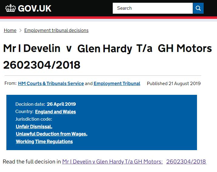 Mr I Develin V Glen Hardy T A Gh Motors 2602304 2018 National