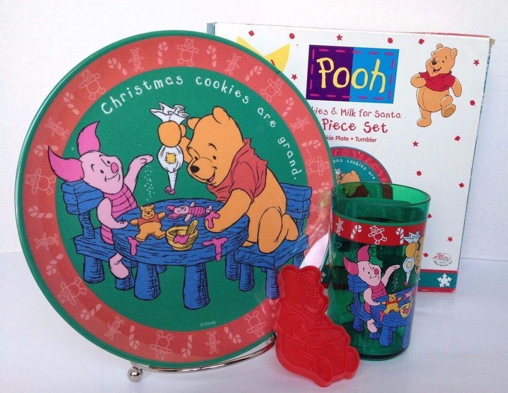 Winnie Pooh cookies Milk santa set box plate cup tumbler Zak
