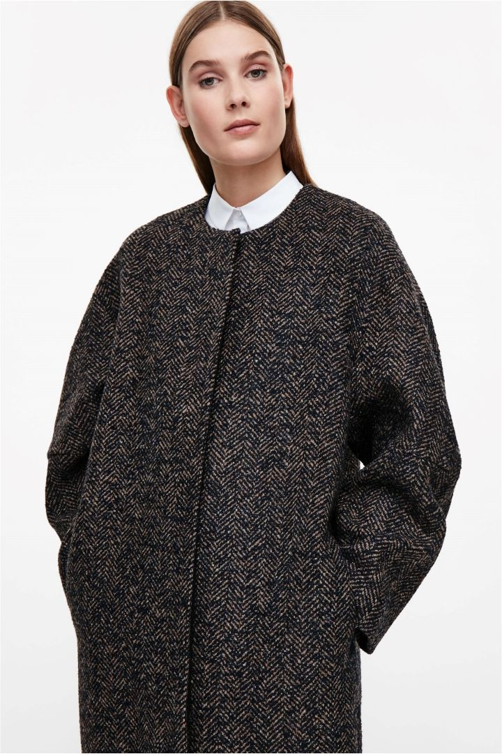 COS image 3 of Oversized tweed coat in Navy | / M O D E R N I S M ...