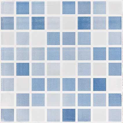 Azulejo Rubik Azul 20x20 Usos En Regadera Antiderrapante Tono