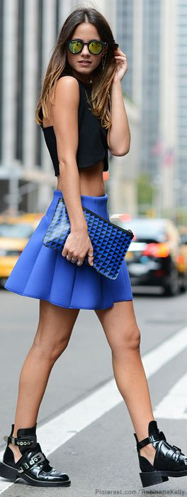 city Gal. Love the neon blue skirt! bright colors are so perfect for a really hot day in the summer! xo