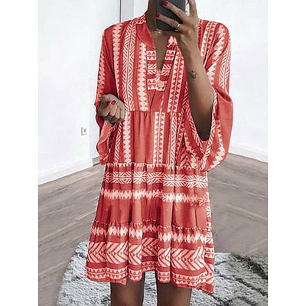 Patty Women Summer Striped Casual V Neck Loose Beach Dress Walmart Com Walmart Com In 2021 Long Sleeve Boho Dress Bohemian Dress Dresses [ 1000 x 1000 Pixel ]