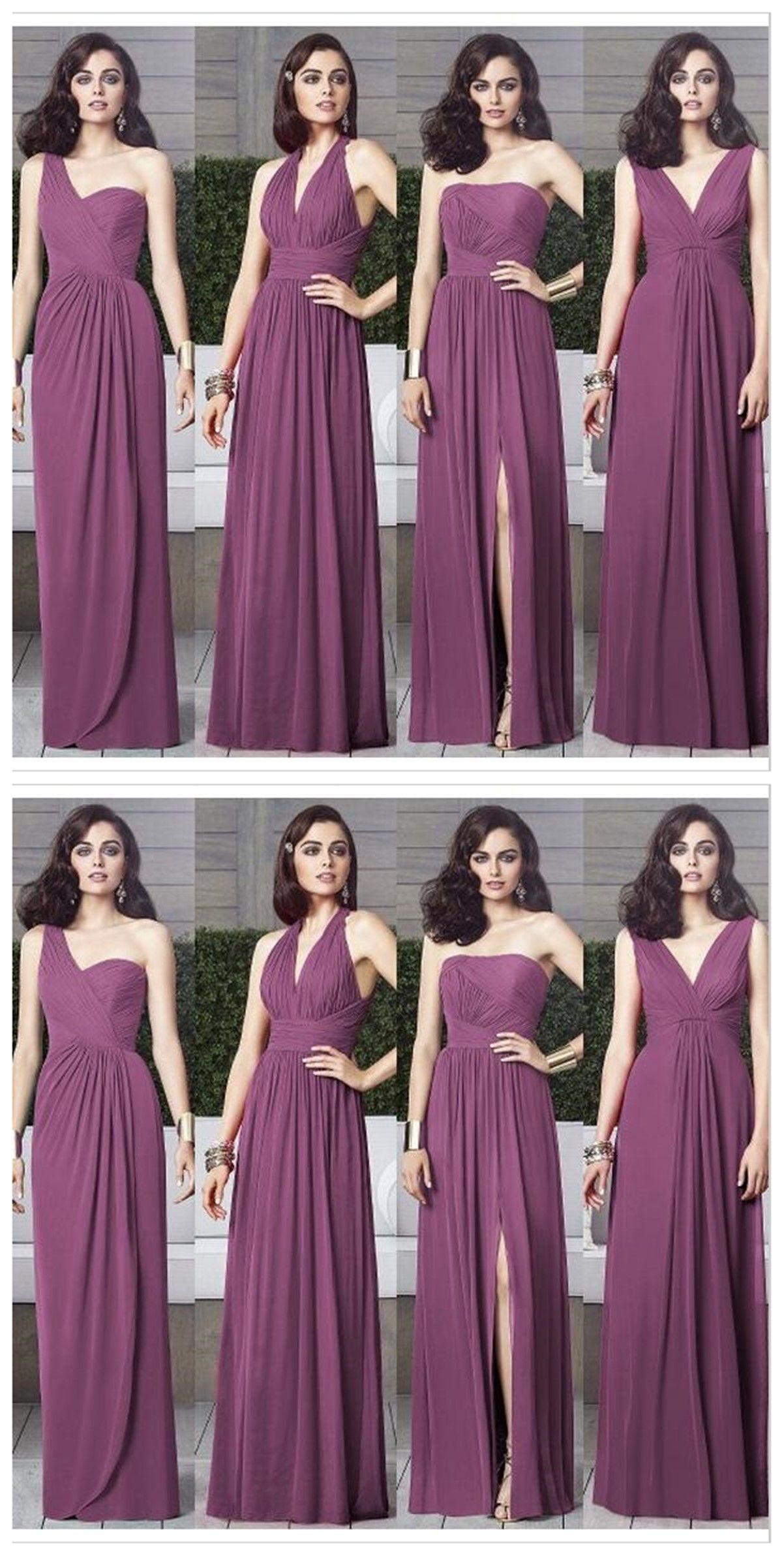 Cheap Chiffon Mismatched Purple Long Bridesmaid Dresses, Affordable ...