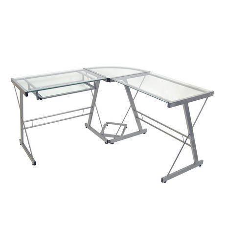 Amazing Glass And Metal Corner Computer Desk Available From Walmart Download Free Architecture Designs Oxytwazosbritishbridgeorg